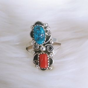 Sterling Native Navajo Coral and Turquoise Ring